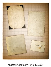 old photo frames and mathe book page isolated on white background. aged paper