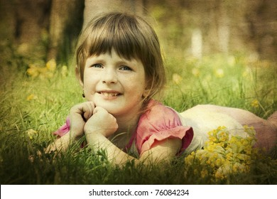 old photo of little girl in spring field