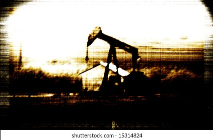 Old Photo Oil Well next to Farm house