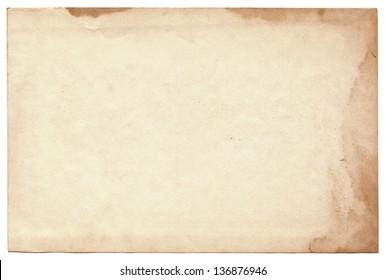 Old photo on white background. Vintage empty postcard texture