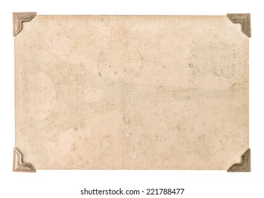 old photo paper with corner isolated on white background. grungy cardboard