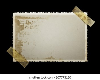 Old photo paper on balck background with clipping path for the inside