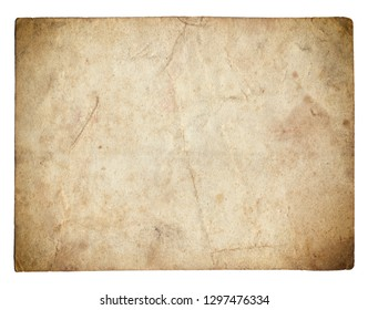 Old photo paper texture with stains and scratches isolated on white