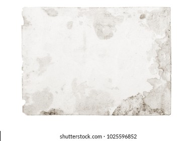 Old photo texture with stains and scratches. Vintage and antique art concept. Front view of blank black & white old aged dirty frame isolated on a white background. Detailed closeup studio shot.