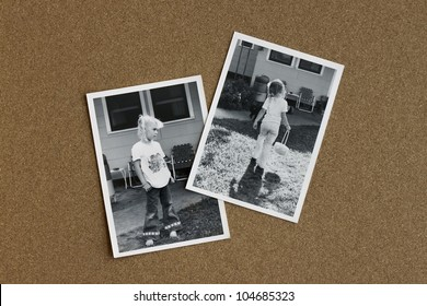Old photographs from the 1970's of a little girl on a bulletin board.