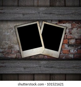 old photos on a brick background