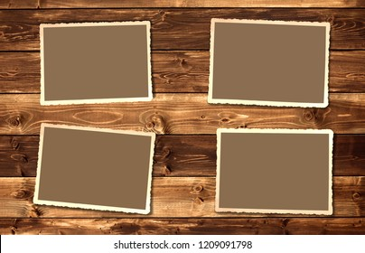 Old photos on wood background