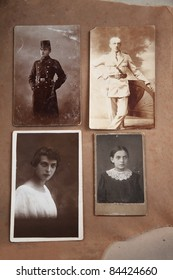 Old photos of young men as cadet in military school and adult and young woman as teen and adult. Photos taken in 1911 to 1938.