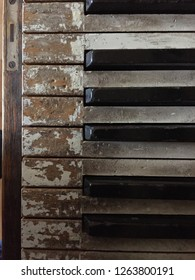 Old Piano Keys of a vintage wooden piano