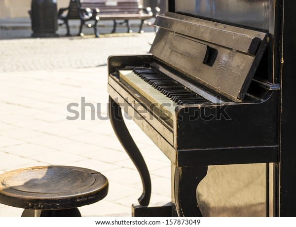 Old piano on the street available for passers by