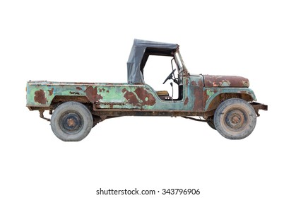 old pickup truck isolated on white background