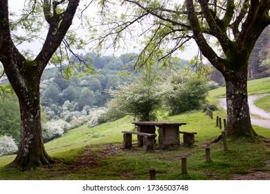 old picnic bench in Beunde, Zegama, Gipuzkoa, Basque Country, Spain, Europe. On the course of the marathon Skyrunner of Zegama