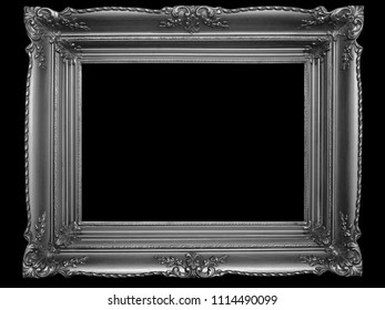 Old Picture Frame Isolated On Black Background, Design Element, Photograph, Paintings, Photography