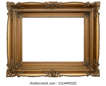 Old Picture Frame Isolated On White Background, Design Element, Photograph, Paintings, Photography