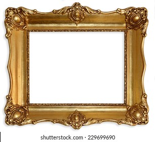 Old picture frame isolated on white background