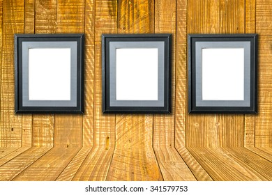 Old picture frame on wall vintage wood background texture