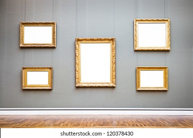 old picture frames at a museum - nice background with copy space