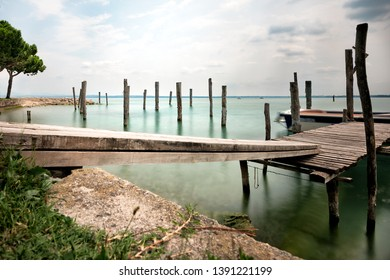 Old Pier on Lake Garda, Sirmione Italy