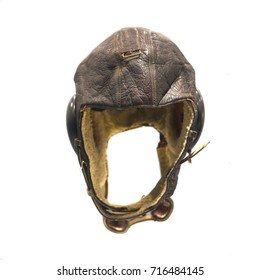 Old pilot aviator hat isolated