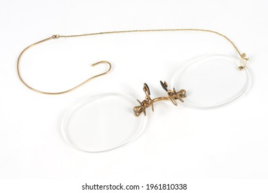 old pince-nez eyeglasses with case