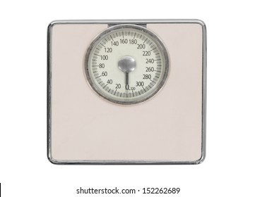 Old pink bathroom scale isolated with clipping path.