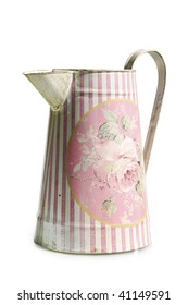 Old pink ewer - isolated on white background