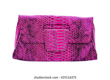 Old pink leather bag woman on white background, fashion design