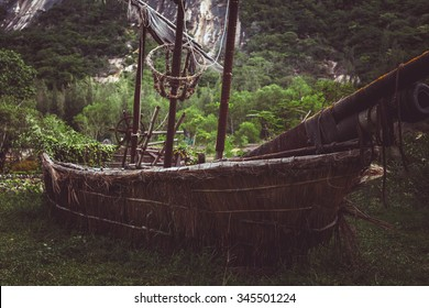 Old pirate sailboat in the jungle.