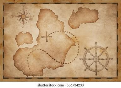 old pirates treasure map illustration