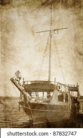 Old piratical frigate. Photo in vintage image style.