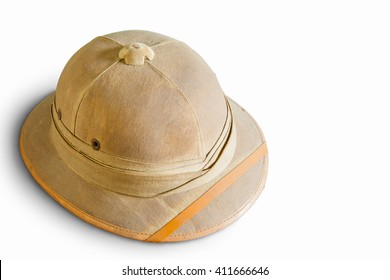 Old pith helmet isolated on white