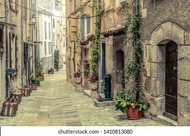 Old pitoresque street in the village Entrevaux in France