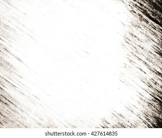 old plain white parchment paper illustration with vintage grunge fiber texture and soft faded gray and black vignette border on frame with light center for copy space for text or image or note
