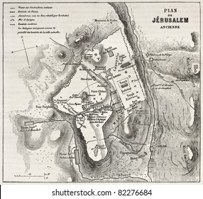 Old plan of Jerusalem. Created by Villemin after Gerardy, published on Le Tour du Monde, Paris, 1860