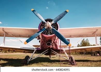 Old plane. Biplane.