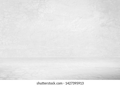 Old plaster or cement floor and wall backgrounds, gray room, interior texture for display products. wall background.