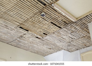 Old plaster and lath ceiling