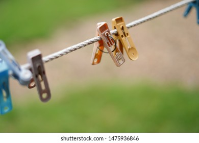 Old Plastic Clothes Clip,clothespins on the hangers rope for wash clothes.
