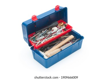 Old plastic toolbox isolated on white background