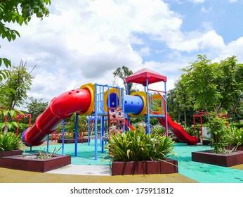Old playground in park Thailand.