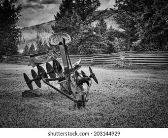 Old Plow in Black and White
