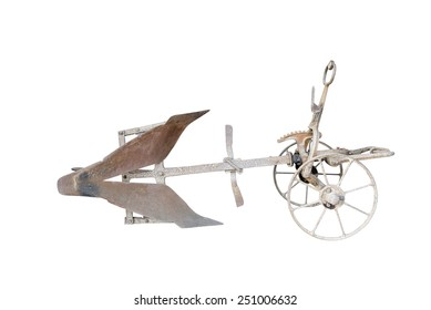 old plow isolated on a white background