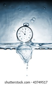 Old pocket watch in the deformed reflexion of time in water