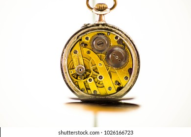 Old Pocket Watch on White Background   Antique pocket watch on white background. Concept of time.