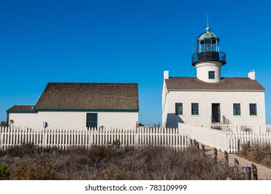 The Old Point Loma lighthouse and adjacent building at Cabrillo National Monument in San Diego, California.
