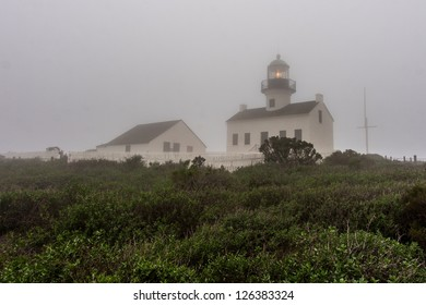 The Old Point Loma Lighthouse in the fog.