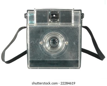 Old point and shoot camera, on white background