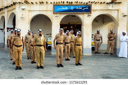 The old police uniform in Qatar, was Photographed on November 10/2017 in Souq Waqif in Doha, the capital of Qatar