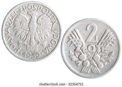 Old Polish zloty coins isolated over white background
