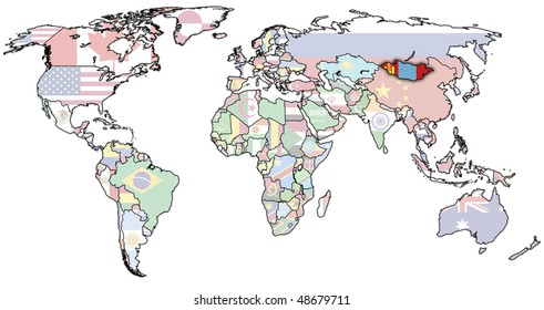 old political map of world with flag of mongolia